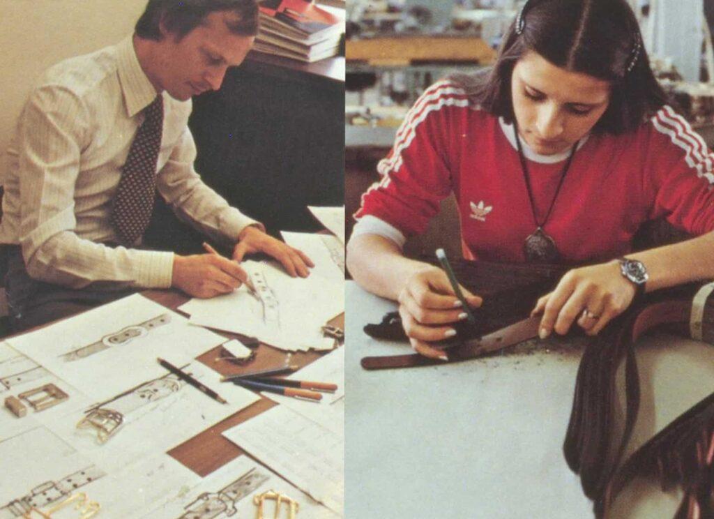 Links sieht man einen Designer, der für Hepco neue Gürtel und Schließen entwirft. Rechts baut eine Designerin gerade die ersten Prototypen eins neuen Modelles.
