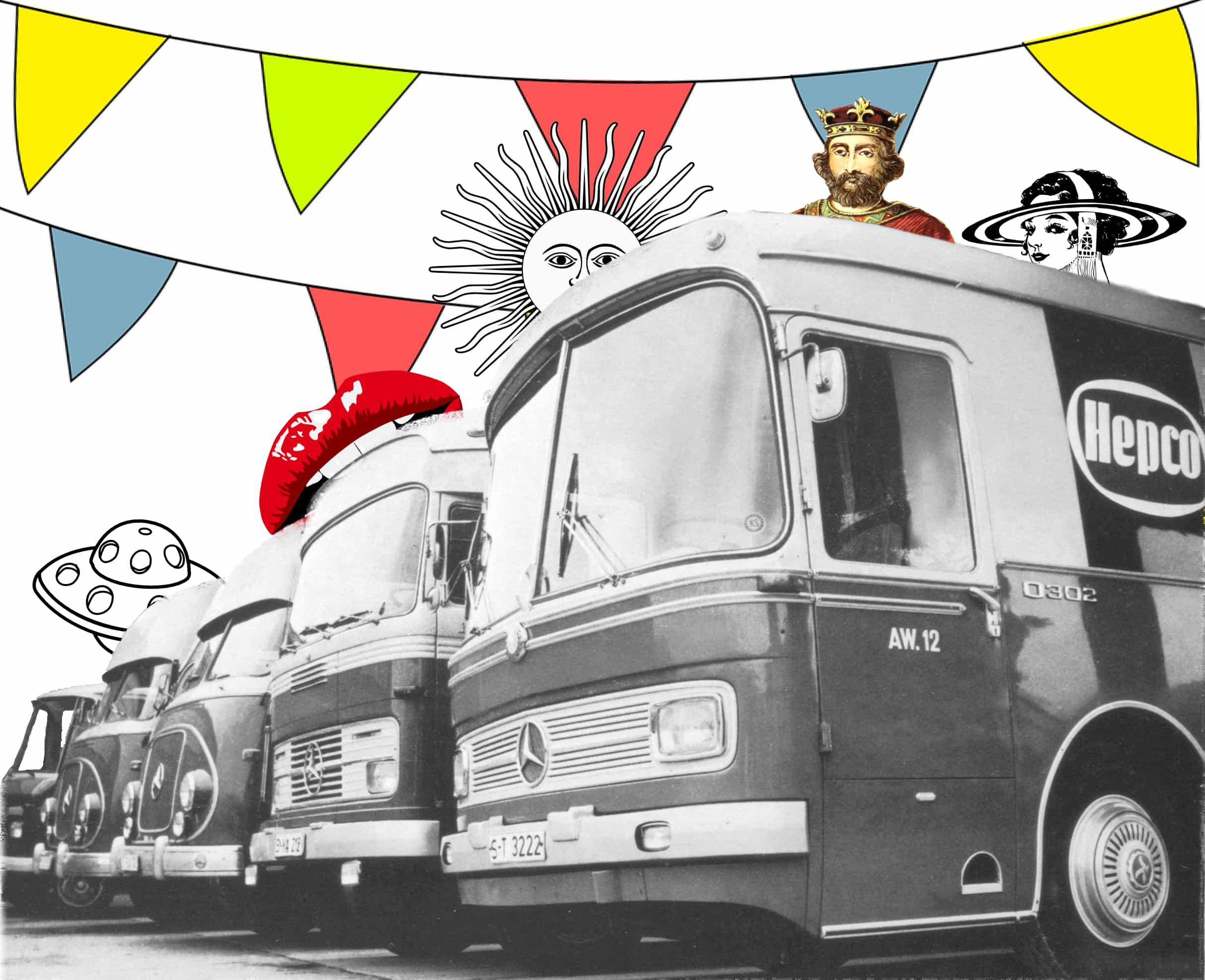 """Ausstellungsbusse namens """"Export-Kuriere"""" brachten im nahmen von Hepco die Ware zu potentiellen Kunden. Foto: 1961"""